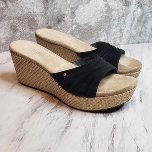 Ugg Alvina Slip On Wedge Sandals Black Suede 9.5